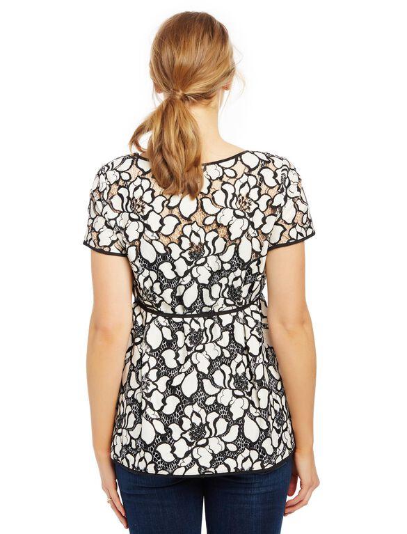 Lace Maternity Blouse, Black/White