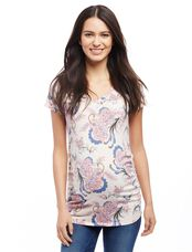 V-neck Side Ruched Maternity Tee- Pink Floral, Pink Floral