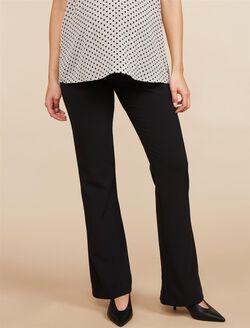Petite Secret Fit Belly Bi-stretch Suiting Flare Leg Maternity Pants, Black