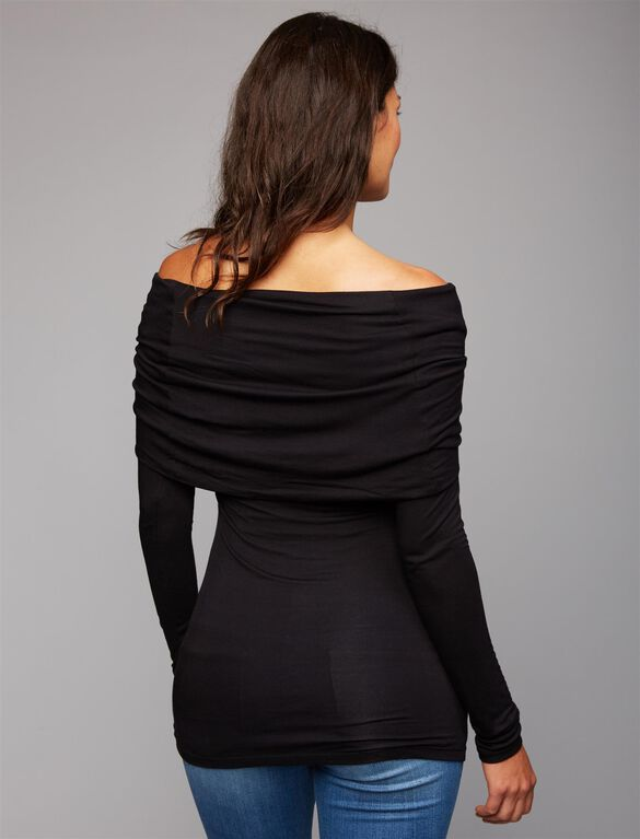 Off The Shoulder Maternity Top, Black