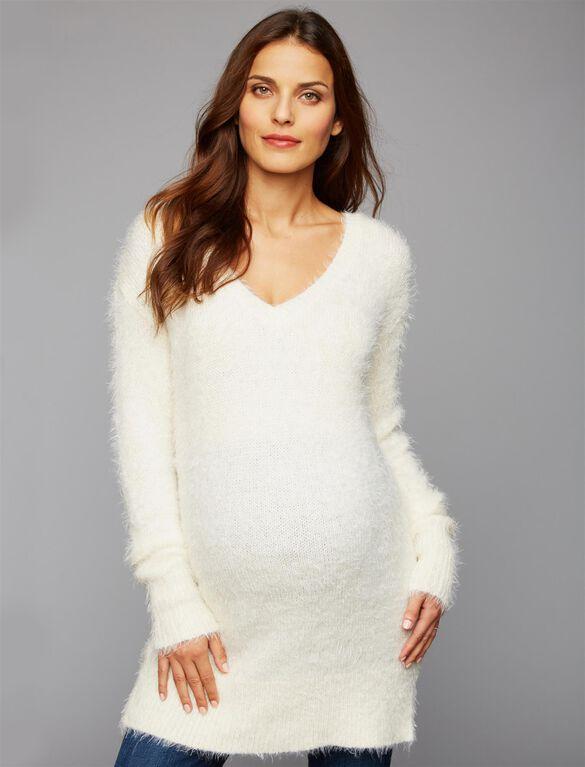 Back Interest Maternity Sweater Tunic, Ivory