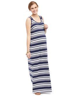 Striped Maternity Maxi Tank Dress, Blue Stripe