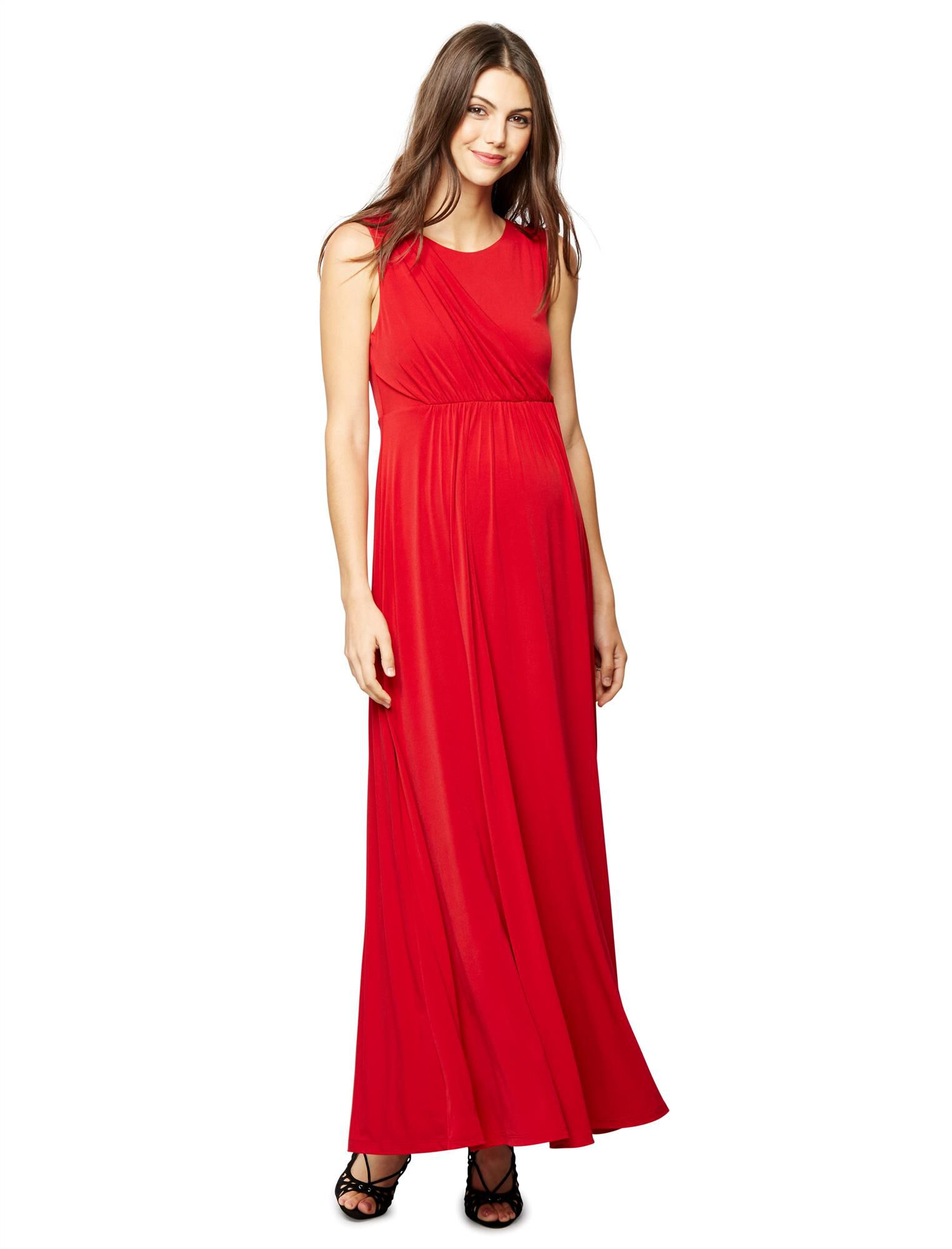 Draped Maternity Gown- Red