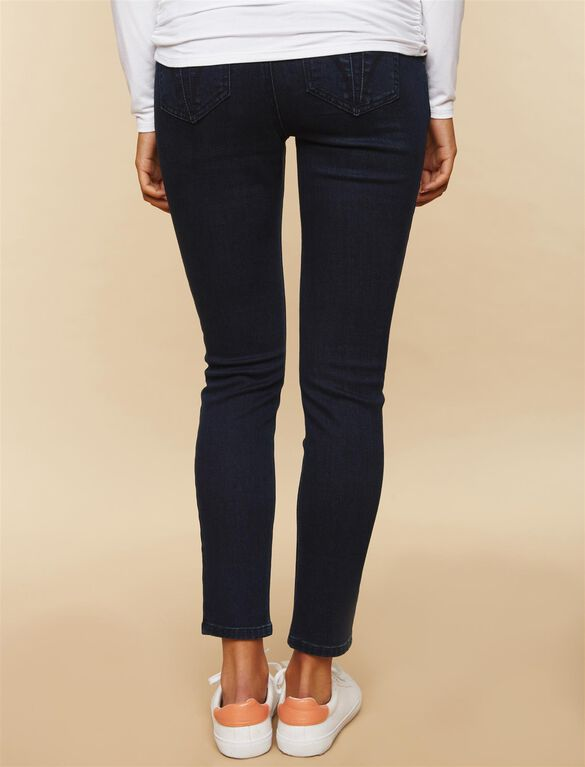 Front Panel Under Belly Skinny Leg Maternity Ankle Jeans, Dark