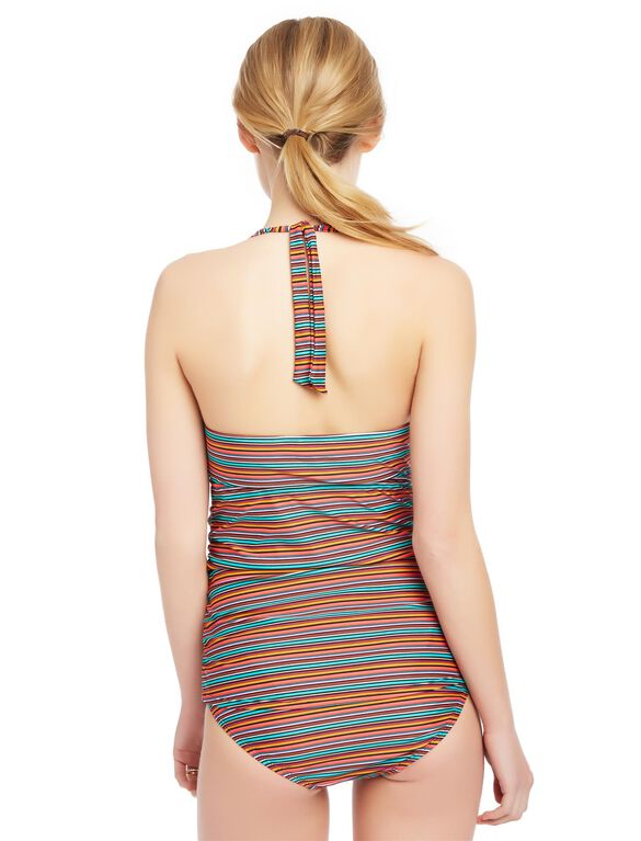 Multi Stripe Tie Detail Maternity Tankini, Multi Mini Stripe