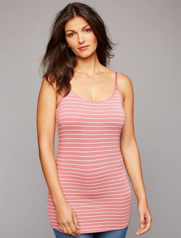 Luxe Clip Down Nursing Cami- Stripe, Mauve/Light Heather Grey Stripe