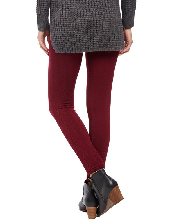 No Belly Fleece Maternity Leggings- Cable Knit, Burgundy Cable