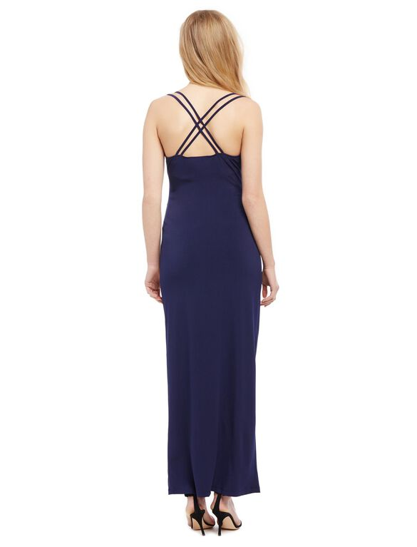 Cross Back Maternity Gown, Navy