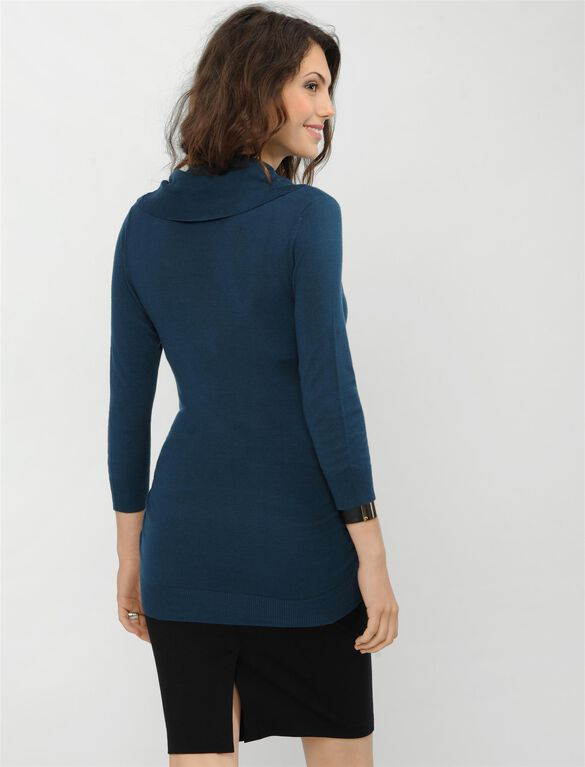 Side Ruched Maternity Sweater, Deep Ocean