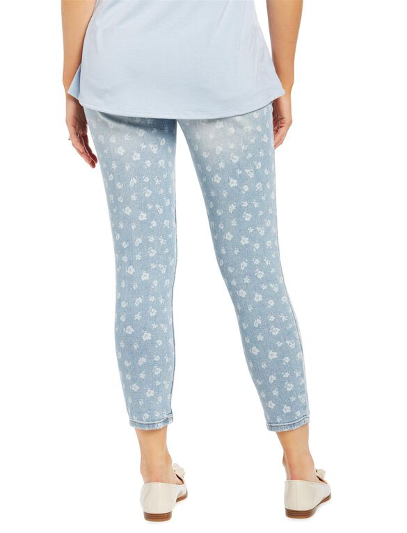 Secret Fit Belly Floral Embroidered Maternity Crop Jeans, Light Wash Floral