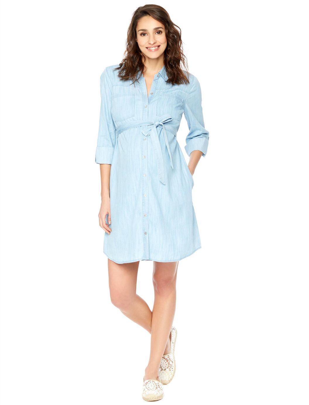 Belted chambray maternity shirt dress motherhood for Made in canada dress shirts