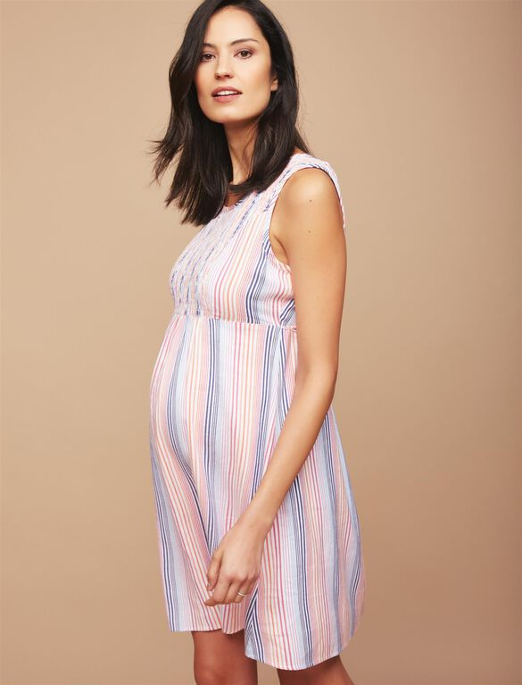 Smocked Striped Maternity Dress, Multi Stripe