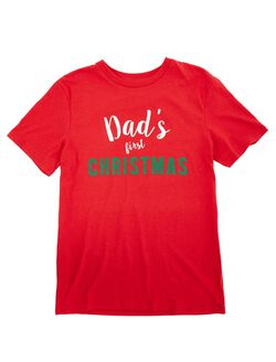 Men's Dad's First Christmas Tee, Red