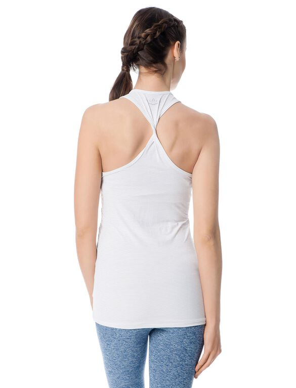 Beyond The Bump Back Interest Maternity Tank Top, White