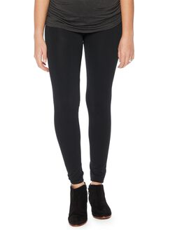 Seamless Fleece Maternity Leggings- Black, Black