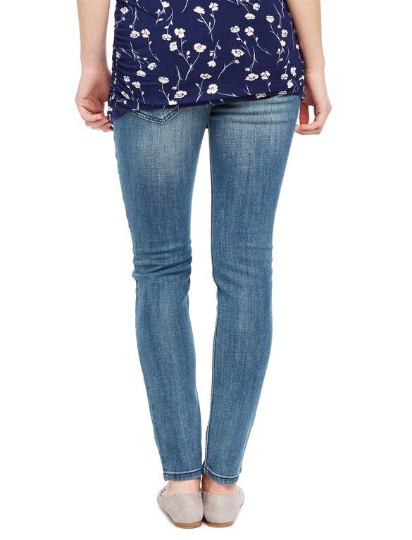 Indigo Blue Premium Secret Fit Belly Skinny Leg Maternity Jeans, Medium Wash