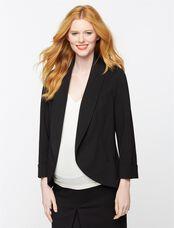 Open Front Ponte Maternity Blazer, Black