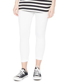 Secret Fit Belly Maternity Crop Leggings, White