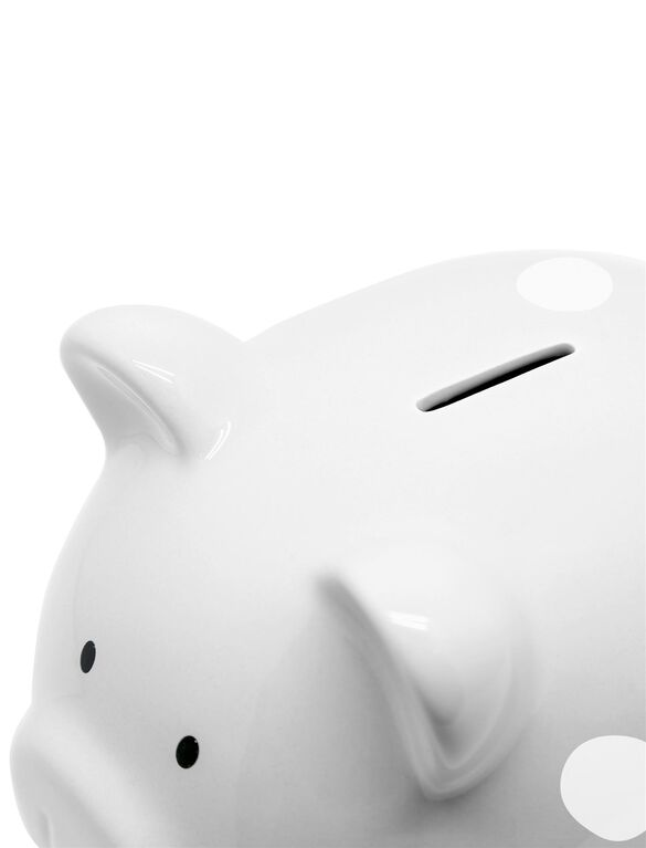 Pearhead Ceramic Piggy Bank- Medium, Grey