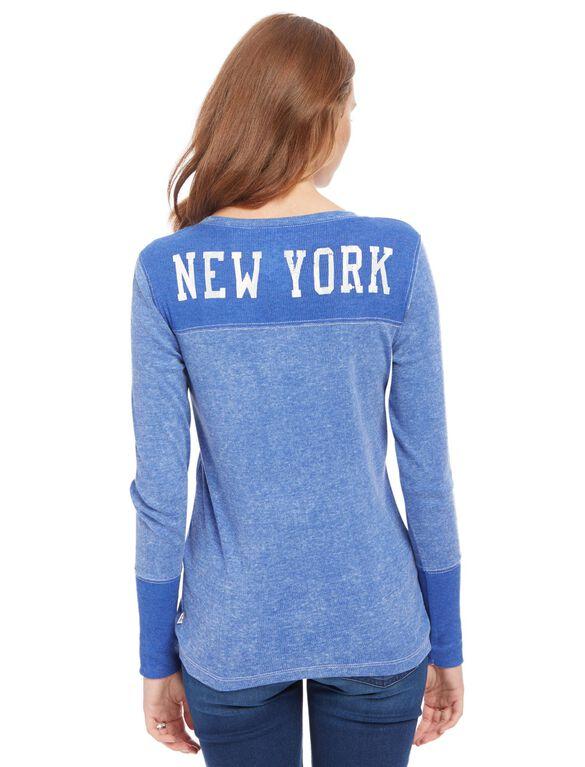 New York Giants NFL Long Sleeve Maternity Graphic Tee, Giants Blue
