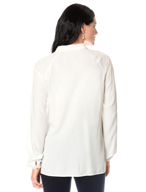 Button Front Maternity Shirt, White