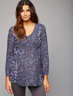 Lace Trim Maternity Tunic, Blue/Pink Floral