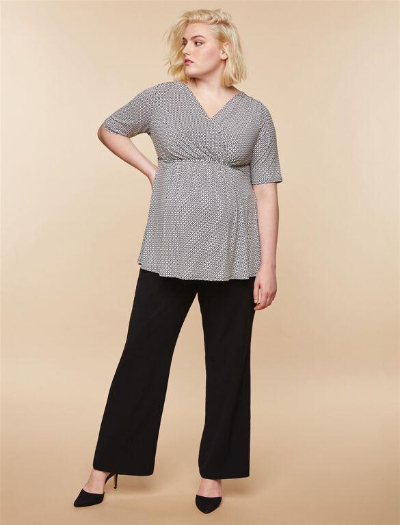 Plus Size Secret Fit Belly Boot Cut Suiting Maternity Pants- Black, Synthetic Black
