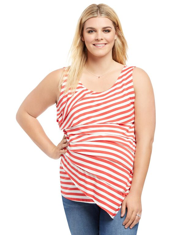 Plus Size Tiered Maternity T Shirt, Red/White Stripe