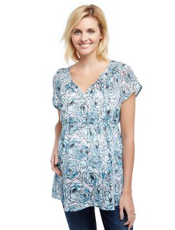 Smock Neck Maternity Blouse, Blue Floral