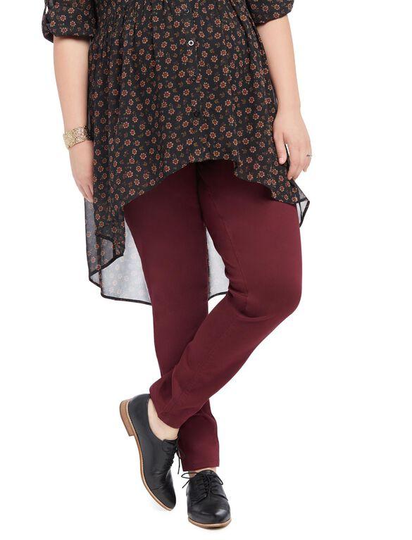 Plus Size Secret Fit Belly Sateen Skinny Leg Maternity Pants, Pinot Noir Burgundy
