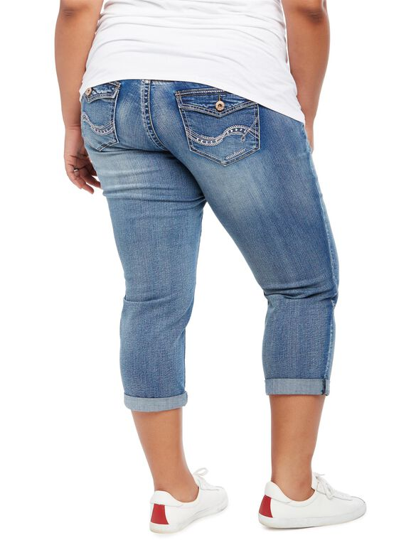 Plus Size Secret Fit Belly Straight Leg Maternity Crop Jeans, Medium Wash