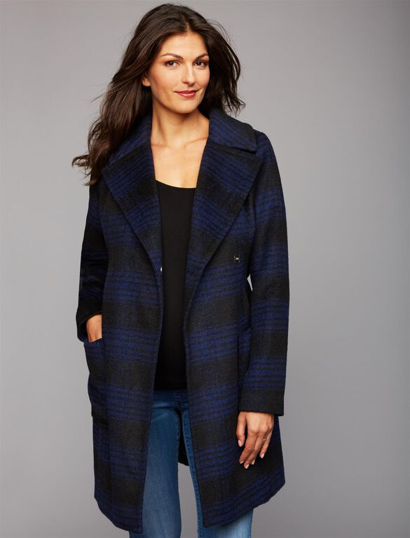Plaid Maternity Peacoat, Navy Plaid