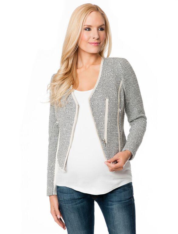 Zip Front Tweed Maternity Jacket, Charcoal