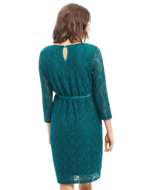 Lace Bow Detail Maternity Dress., Teal