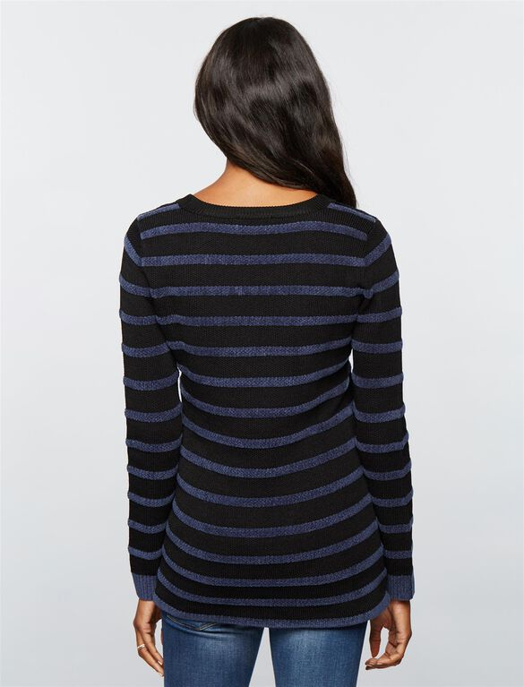 Button Detail Maternity Sweater, Black/Navy