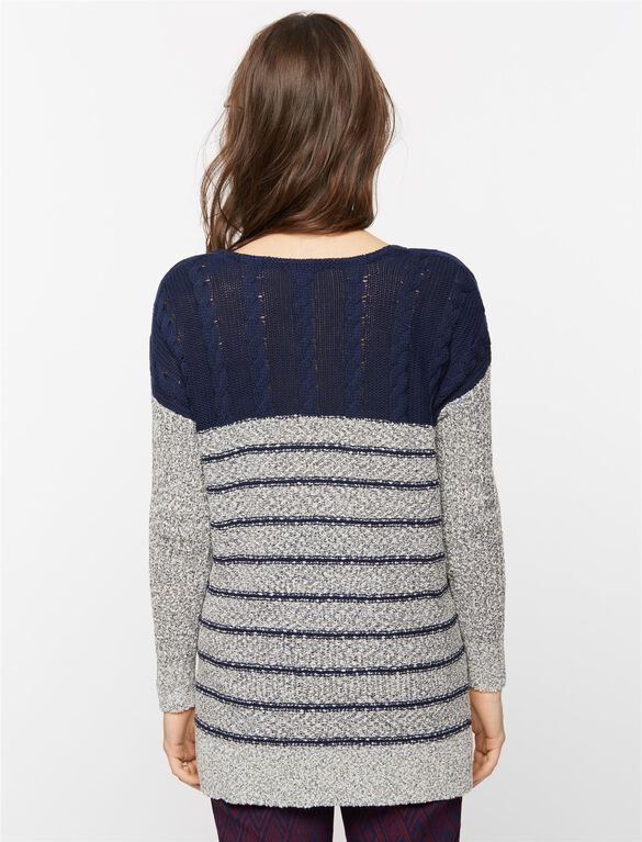 Mixed Stich Maternity Sweater, Blue/White Stripe