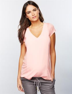 Linen Woven Combo Maternity Top, Soft Coral