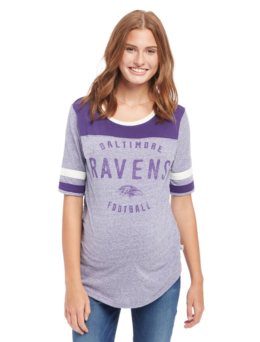 Baltimore Ravens NFL Elbow Sleeve Maternity Graphic Tee at Motherhood Maternity in Victor, NY | Tuggl