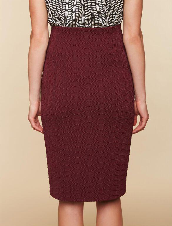 Under Belly Diamond Jacquard Maternity Skirt, BURGUNDY