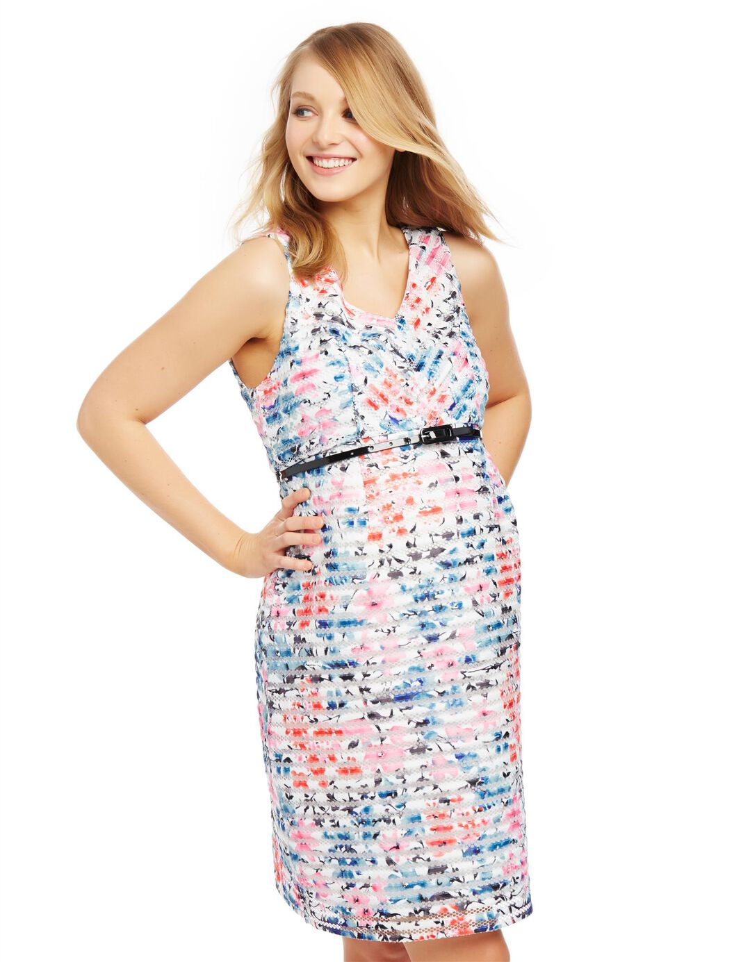 Jacquard Lace Maternity Dress- Floral at Motherhood Maternity in Victor, NY | Tuggl