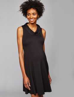Taylor Drape Neck Maternity Dress, Black