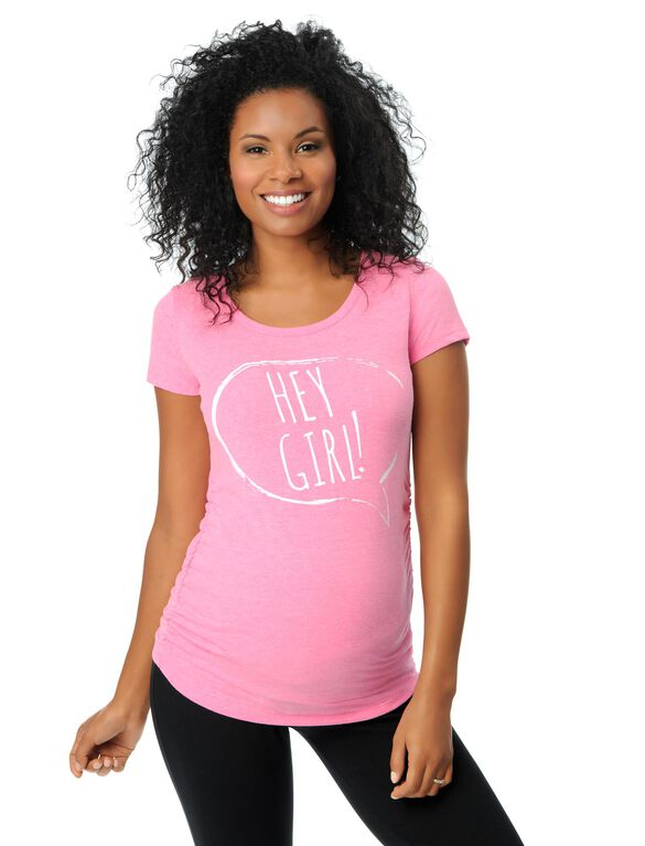 Hey Girl Maternity Tee, Pink