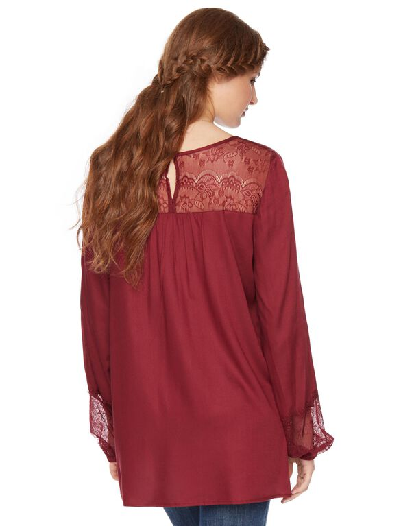 Wendy Bellissimo Lace Trim Maternity Blouse, Burgundy