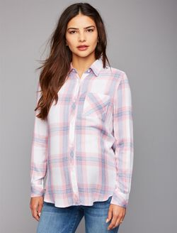 Rails Button Front Maternity Shirt, White/Peony