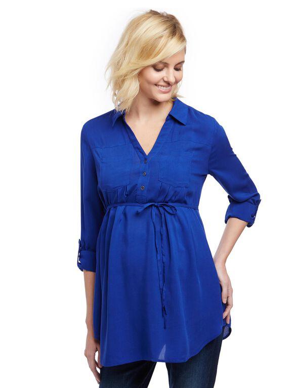 Front Pocket Maternity Shirt, Soft Cobalt