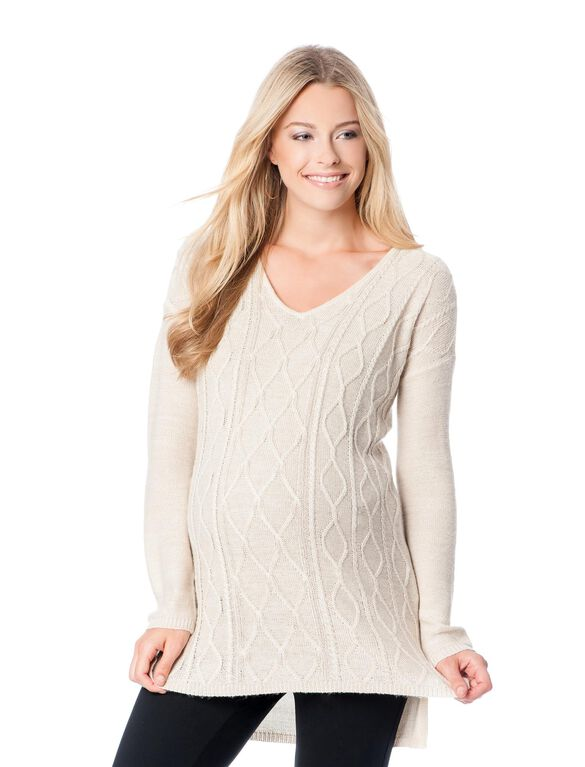 V-neck Cable Knit Maternity Sweater, Oatmeal