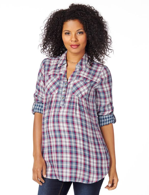 Plaid Button Front Maternity Shirt- Blue/White, Blue/White Plaid