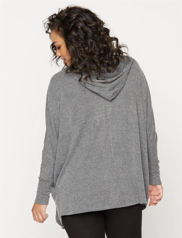 Hooded Maternity Cardigan, Medium Grey