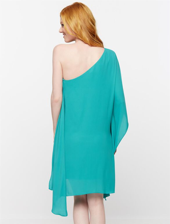 BCBGMAXAZRIA One Shoulder Maternity Dress, Dark Sea Green