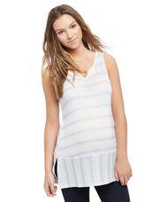 Striped Lace Trim Maternity Tank, Blue Stripe